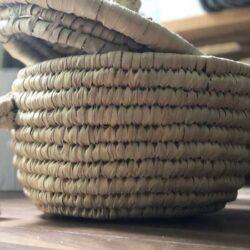 100/% Handmade Maison Zoe Palmkorb rechteckig mit Deckel W/äschekorb Flechtkorb /ökologisch und nachhaltig 3er Set